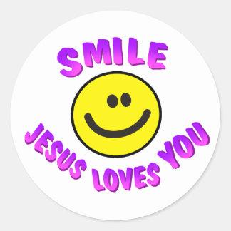 La sonrisa, Jesús le ama Pegatina Redonda