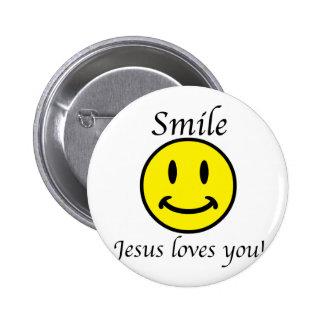 La sonrisa, Jesús le ama Pin Redondo 5 Cm