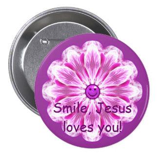¡La sonrisa, Jesús le ama! Pin Redondo 7 Cm