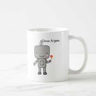 La sonrisa linda de la flor del robot le agradece  tazas de café