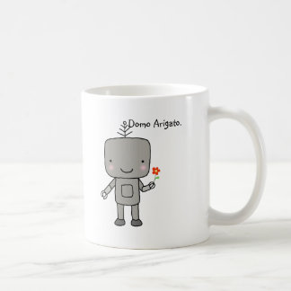 La sonrisa linda de la flor del robot le agradece taza básica blanca