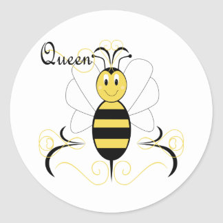 La sonrisa manosea al pegatina de la abeja reina