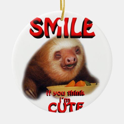 la sonrisa si usted me piensa es linda adorno navideño redondo de cerámica