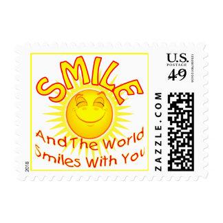 La sonrisa y el mundo sonríe con usted (2) timbres postales