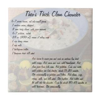 La sopa de almejas gruesa de Theo Azulejo Cuadrado Pequeño