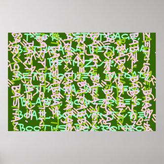 La sopa de BBB ALPHAART ALPHAB nombra arte caprich Póster