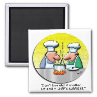 La sorpresa del cocinero imán cuadrado
