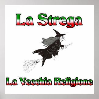 La Strega la bruja italiana de Halloween Posters