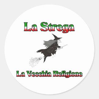 La Strega la bruja italiana de Halloween Pegatinas Redondas