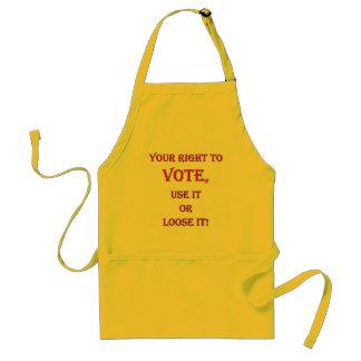 La su derecha de votar delantales