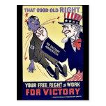 La su derecha libre de trabajar postal