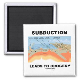 La subducción lleva a la orogenia (el humor de la  iman de nevera