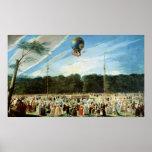 La subida del globo de Montgolfier en Posters