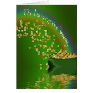 La suerte del irlandés - mina de oro/arco iris tarjeta de felicitación