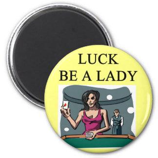la suerte sea un diseño del jugador de la señora imán redondo 5 cm