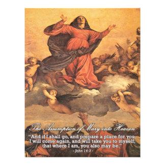 """La suposición de Maria en cielo Folleto 8.5"""" X 11"""""""