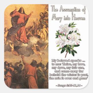 La suposición de Maria en el cielo III Pegatinas Cuadradas Personalizadas