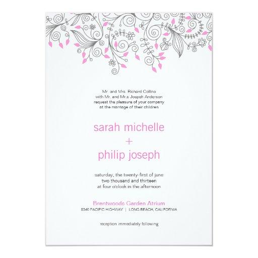 """La suposición floral gris rosada remolina las invitación 5"""" x 7"""""""