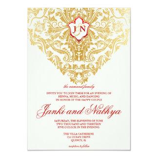 """La suposición prospera el boda árabe indio de oro invitación 4.5"""" x 6.25"""""""