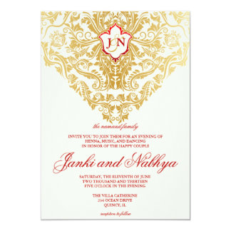"""La suposición prospera el boda árabe indio de oro invitación 5"""" x 7"""""""