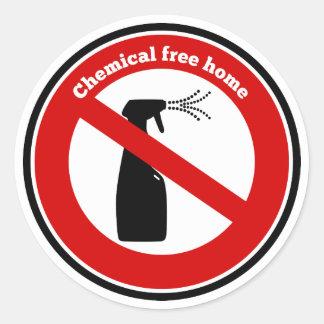 La sustancia química libera a casa pegatina redonda