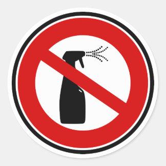 la sustancia química libre del aerosol libera pegatina redonda