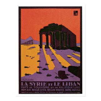 La Syrie et Le Liban vintage travel poster Postcard