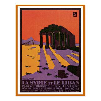 La Syrie y poster del viaje de Le Liban Vintage Tarjeta Postal