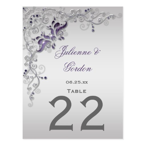 La tabla #2 carda remolinos florales de plata púrp tarjeta postal