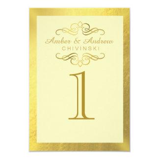 """La tabla atractiva de la hoja de oro del Flourish Invitación 3.5"""" X 5"""""""