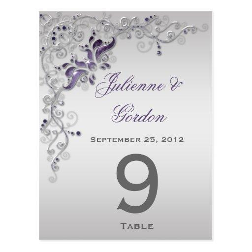 La tabla carda remolinos florales de plata púrpura tarjetas postales