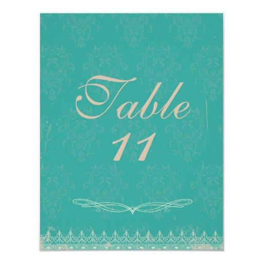 """La tabla del boda del damasco del vintage numera invitación 4.25"""" x 5.5"""""""