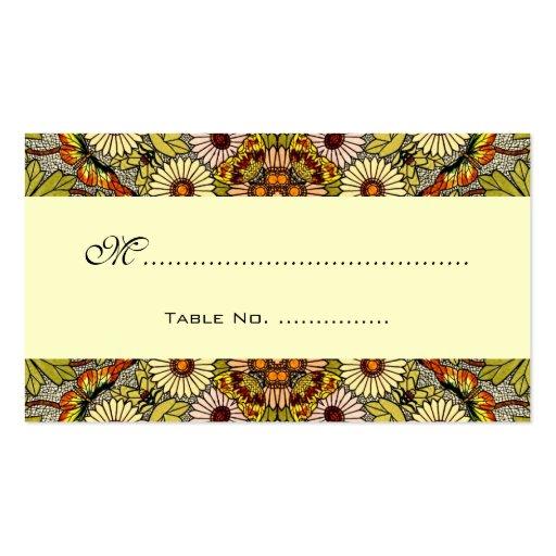 La tabla del boda del vintage numera, florece mari tarjeta de visita
