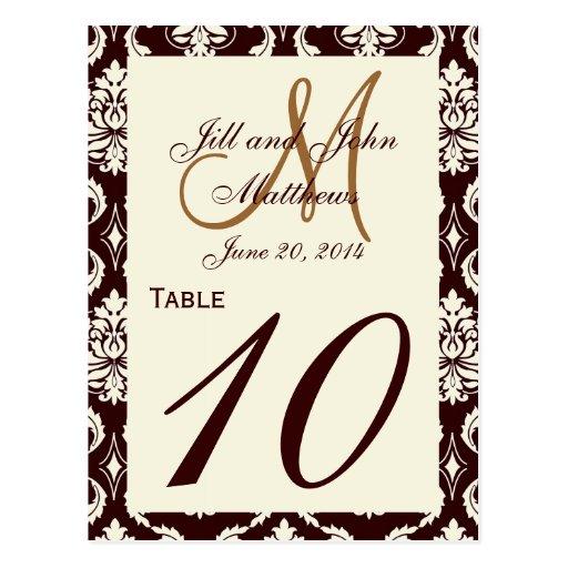 La tabla del boda numera a Brown el damasco poner Postal