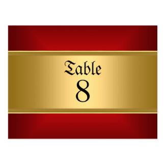 La tabla del boda numera rojo del oro tarjeta postal