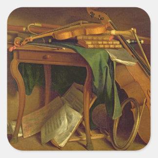 La tabla del músico, c.1760 calcomanía cuadrada