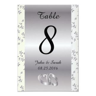 """La tabla del número del boda carda floral de plata invitación 3.5"""" x 5"""""""
