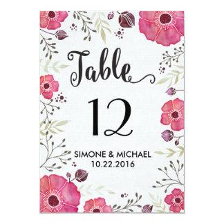"""La tabla floral de la flor del marco numera la invitación 5"""" x 7"""""""