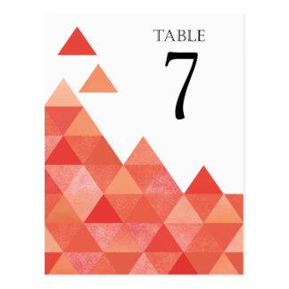 La tabla geométrica de los triángulos numera el postal