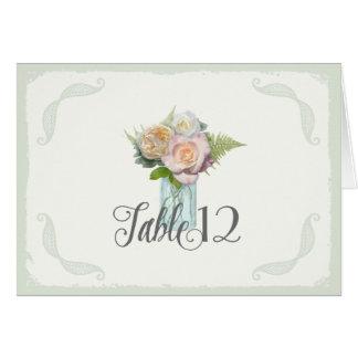 La tabla numera el vintage tarro de albañil floral tarjeta pequeña