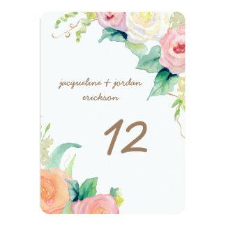 """La tabla numera rosas modernos simples de la invitación 5"""" x 7"""""""