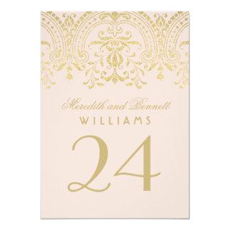 La tabla número el | del boda se ruboriza encanto invitación 12,7 x 17,8 cm