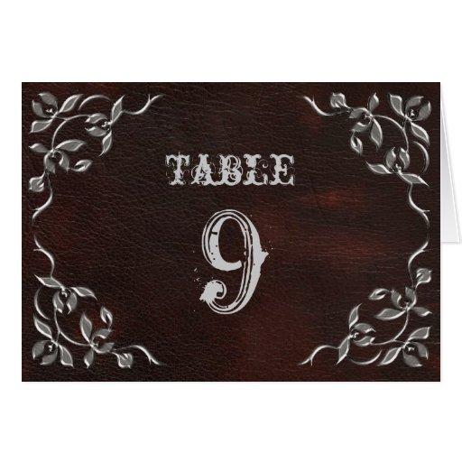 La tabla occidental sofisticada del boda numera la tarjetas