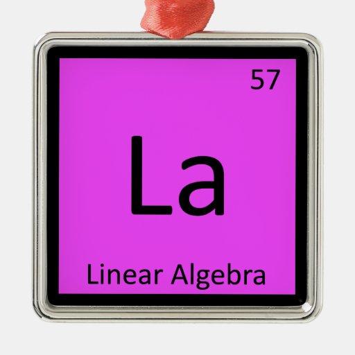 La - tabla periódica de la química de la matemátic ornamentos de navidad