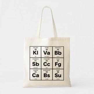 La tabla periódica de postres bolsas de mano