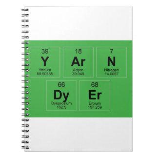 La tabla periódica el tintóreo del hilado que libretas