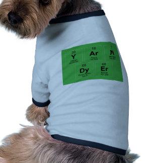 La tabla periódica el tintóreo del hilado que ropa de perro
