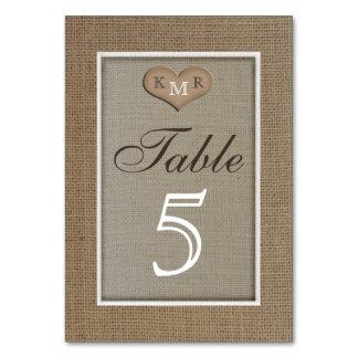 La tabla rústica del boda de la arpillera numera t