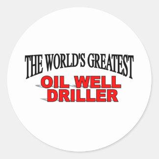 La taladradora más grande del pozo del petróleo etiqueta redonda