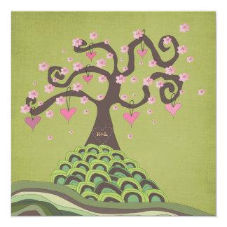 """La talla del árbol del flor del monograma del boda invitación 5.25"""" x 5.25"""""""